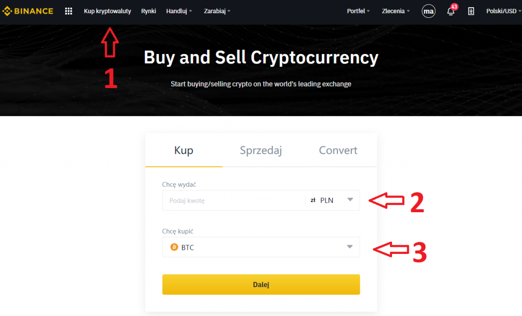 Zakup na Binance